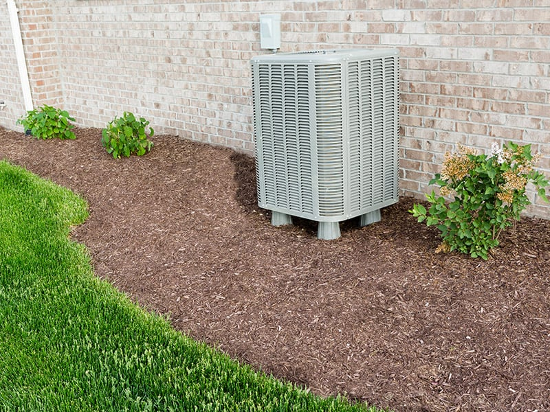 Condensing unit outside in the yard