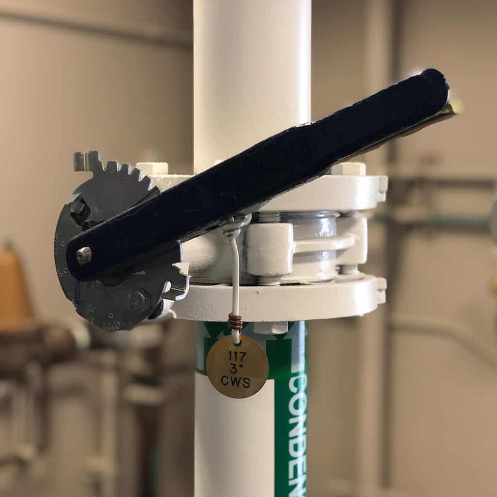 Flow adjustment valve in chiller plant