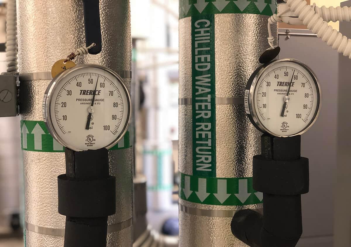 Temperature sensors in a chiller plant