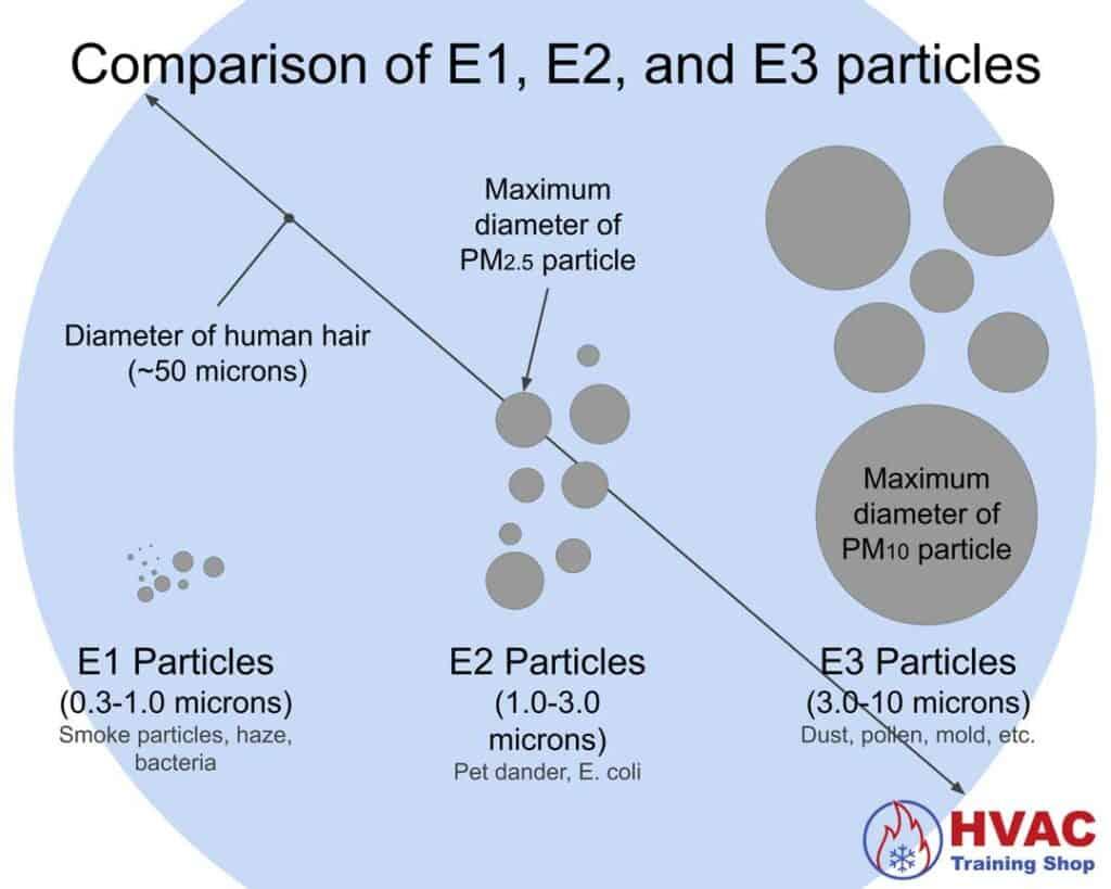 Size comparison of E1, E2, and E3 particles